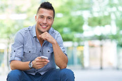Young man with smartphone Stock Photos