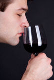 Young Man Smelling A Glass Of Red Wine Royalty Free Stock Photography