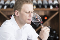 Young man smelling a glass of red wine Stock Images