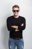 Young man smile with sunglasses on Stock Photography