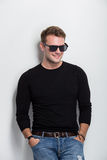 Young man smile with sunglasses on Royalty Free Stock Images