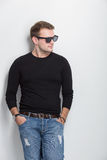 Young man smile with sunglasses on Stock Image