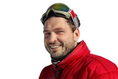 Young man smiles in winter, snowboard. Young man smiles in winter isolated on white backgroung Royalty Free Stock Image