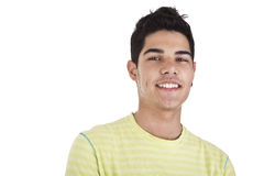 Young Man Smiling. Handsome young man with happy face. Isolated on white background, studio shot stock photography