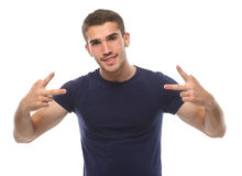 Young man smiling and gesturing with his hands. isolate Royalty Free Stock Photos