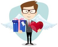 Young man smiling , holding gift and heart Royalty Free Stock Photos