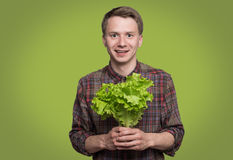 Young man smiling. Smiling young man holding green lettuce on grey background Stock Image
