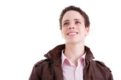 Young man smiling and looking to camera Royalty Free Stock Image