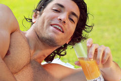 Young man smiling outdoor Royalty Free Stock Photo