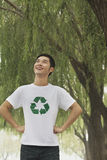 Young Man Smiling, Recycling Symbol, Beijing Royalty Free Stock Images
