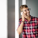 Young Man Smiling Talking Smartphone Concept Royalty Free Stock Image
