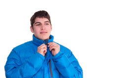 Young man smiling wintertime. Young man smiling looking  wintertime isolated Stock Images