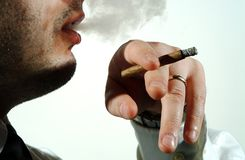Young man smoking cigar Royalty Free Stock Image
