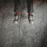 Young man in sneakers jumping Royalty Free Stock Photo