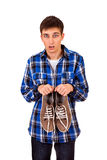 Young Man with Sneakers Royalty Free Stock Images