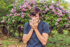 Young man sneezes because of an allergy to pollen royalty free stock photography