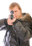 Young man with sniper rifle Stock Photo