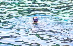 Young man snorkeling in blue sea Royalty Free Stock Photo