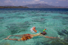 Young man snorkeling in clear shallow tropical sea Royalty Free Stock Photography