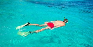 Young man snorkeling in clear tropical turquoise Stock Images
