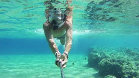 Young Man Snorkeling on Colorful Reef in Red Sea, Egypt stock video footage