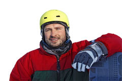 Young man with snowboard isolated on white backgroung Royalty Free Stock Photo