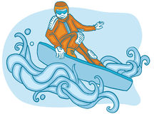Young man on a snowboard. Young smiling person on a snowboard enjoying winter sports Royalty Free Stock Image