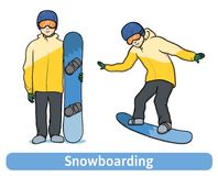 A young man with snowboard, standing and in motion. Snowboarding, extreme winter sport, active recreation. Vector. Illustration, isolated on white background Stock Photography