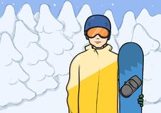 A young man with snowboard standing among the snowy winter forest. Snowboarding, extreme sport, active recreation. A young man with snowboard standing among the Stock Image
