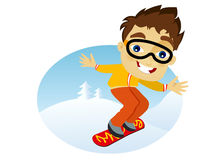 Young man snowboarder. Male snowboarding against blue sky Stock Photography