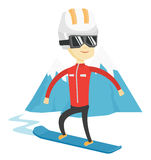 Young man snowboarding vector illustration. Royalty Free Stock Photos