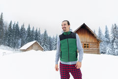 Young Man Snowy Village Wooden Country House Winter Snow Resort Cottage Stock Photography