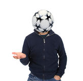 Young man with a soccer ball instead of the head Royalty Free Stock Photos