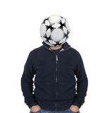 Young man with a soccer ball instead of the head Stock Images