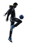 Young man soccer freestyler player silhouette Royalty Free Stock Photos