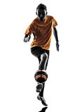 Young man soccer player  silhouette Royalty Free Stock Image