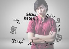 Young man with social media graphics drawings Royalty Free Stock Photos