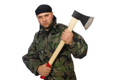 Young man in soldier uniform holding axe isolated Royalty Free Stock Image