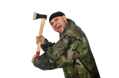 Young man in soldier uniform holding axe isolated Royalty Free Stock Images