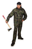 Young man in soldier uniform holding axe isolated Royalty Free Stock Photography