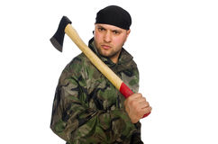 Young man in soldier uniform holding axe isolated Stock Photo