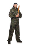 Young man in soldier uniform holding bludgeon Royalty Free Stock Images