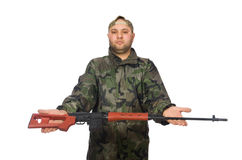 Young man in soldier uniform holding gun isolated Royalty Free Stock Photo