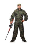 Young man in soldier uniform holding gun isolated Royalty Free Stock Images