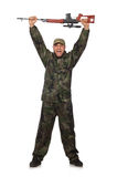 Young man in soldier uniform holding gun isolated Royalty Free Stock Photography