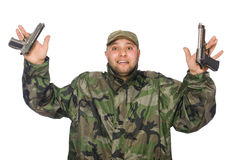 Young man in soldier uniform holding gun Royalty Free Stock Photos