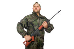 Young man in soldier uniform Stock Photography