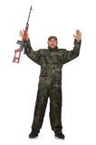 Young man in soldier uniform holding gun isolated Royalty Free Stock Photos