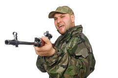 Young man in soldier uniform holding gun isolated Stock Photos
