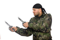 Young man in soldier uniform holding knife Royalty Free Stock Photos